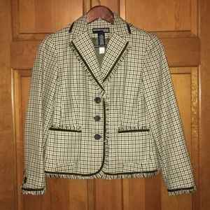 Houndstooth blazer in green and brown